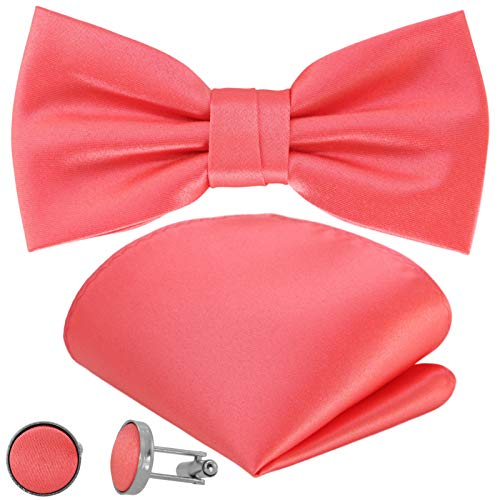 GASSANI 3-Set Fliegenset, Herren-Fliege Coralfarben Einstecktuch Manschettenknöpfe, Bräutigam Hochzeitsfliege Anzug-Schleife Vorgebunden Taschentuch