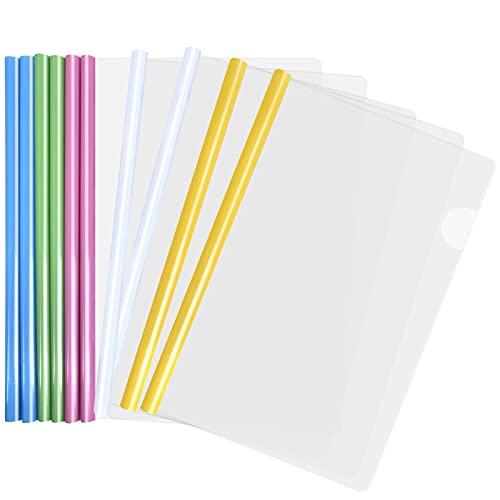 10pcs Copertine Trasparenti per Rapporti, A4 Rapporto Copertina, Plastica Copertine Rilegatura con Barra Scorrevole per Organizzatore di File Ufficio Documenti. Tenere Fino a 40 Fogli (5 Colori) (B)