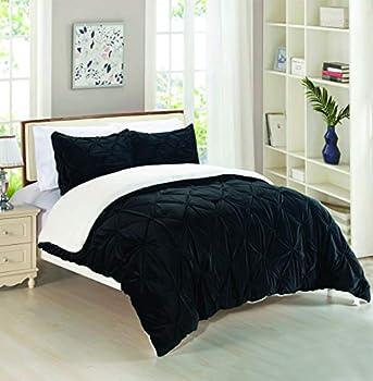 Elegant Comfort Softest Coziest Micromink Pintuck & Pinch Pleated Sherpa Comforter Set Premium Down Alternative Micro-Suede 3-Piece Reversible Comforter Set Full/Queen Black