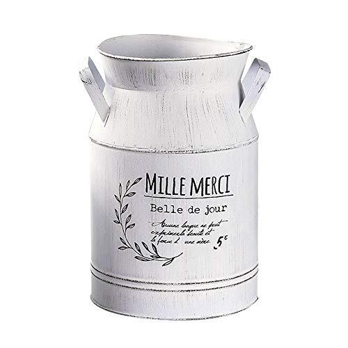 HyFanStr Jarrón de metal de estilo francés vintage Shabby Chic para flores, jarrón rústico de leche, jarrón de lata para decoración del hogar