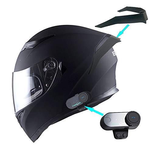 1Storm Motorcycle Full Face Dual Visor Helmet + Spoiler + Motorcycle Bluetooth Headset: HJK316 Matt Black