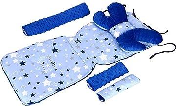 Sitzauflage Kinderwagen MINKY 4 tlg Schmetterling Sitzeinlage  Gurtpolster  Spielbogen Kinderwagenset Konstellation auf Blau/Marineblau