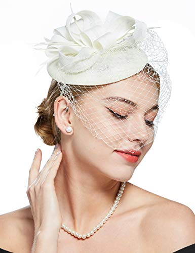 Coucoland Feder Fascinators Hut Damen Blumen Schleife Mesh Hochzeit Braut Elegant Fascinator Haarreif Cocktail Tee Party Damen Fasching Kostüm Accessoires (Weiß)