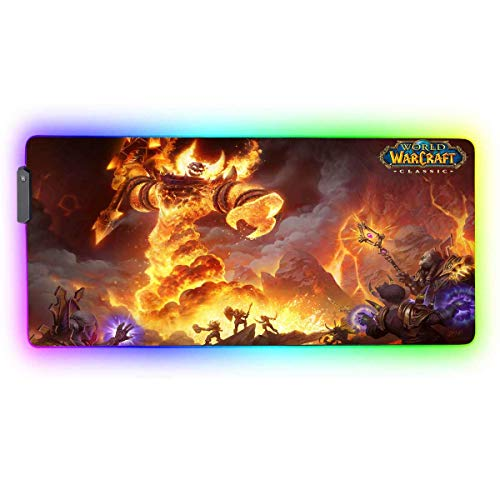 RGB Professional Gaming Mouse Pad for Classic raid,Large Mousepad with 12 Lighting Modes & Non-Slip Rubber Base,Laptop Glowing Desk Pad,Computer Keyboard and Mouse Combo Pads Mouse Mat 35.4x15.7 inch