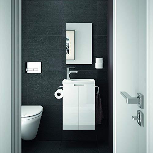 Allibert Badmöbel Gäste-WC Set vormontiert Softclose-Funktion weiß Glanz Waschtisch 40 cm Spiegel