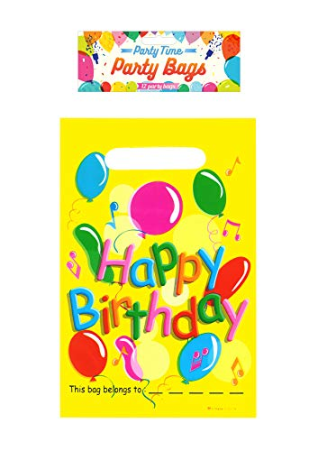 Henbrandt 12-Pack Plastic Happy Birthday Party Bags Gift Bag for Party...