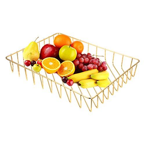 AIHOME Panier Métallique Fruits Bols Organisateur Panier De Rangement pour Cuisine Salle De Bains 31.8 x 24 x 4.8cm