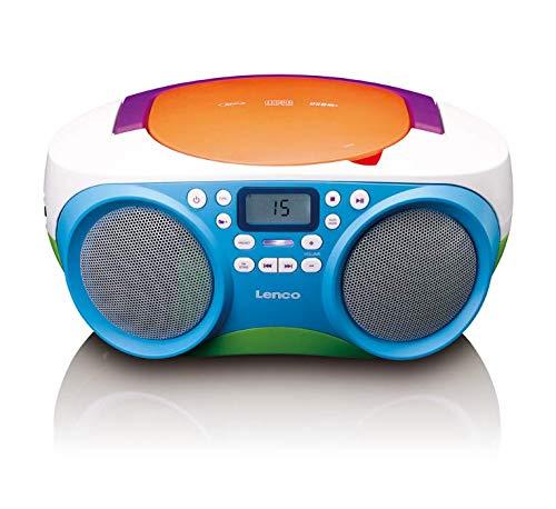 Lenco SCD-41 - CD-Player für Kinder - CD-Radio - Stereoanlage - Boombox - UKW Radiotuner - USB Anschluss - MP3 - 2 x 1 W RMS-Leistung - Netz- und Batteriebetrieb - Bunt