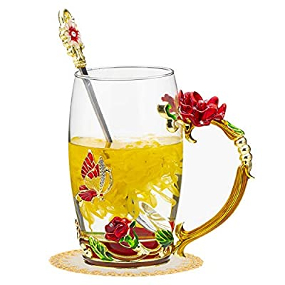 Enamel Glass Tea Cup,Flower Clear Lead-Free Coffee Mugs,Elaborate Handle and Beautiful Spoon Tea Cup for Women Birthday Valentines Wedding Day Gifts (Rose red)