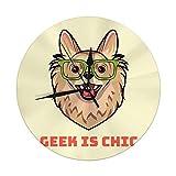 Meili Shop Reloj de Pared Perro en Gafas Inteligentes con Geek Is Chic Inscripción Relojes Redondos Grandes