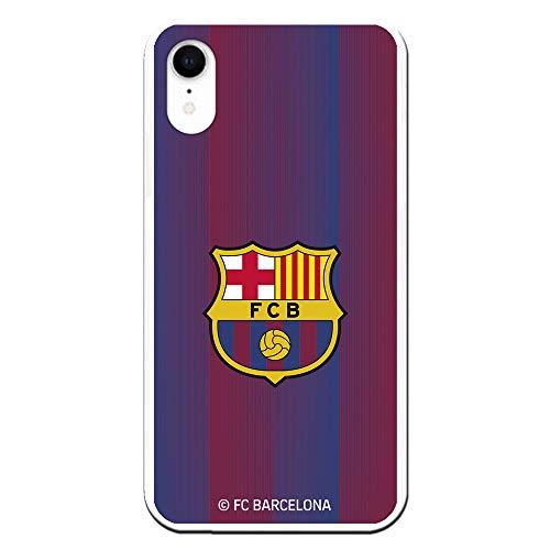 Funda para iPhone XR Oficial del FC Barcelona - Escudo Franjas para Proteger tu móvil. Carcasa para iPhone de Silicona Flexible con Licencia Oficial de FC Barcelona