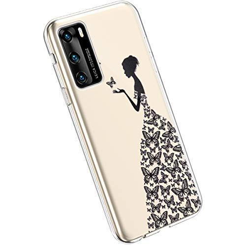 Ysimee Compatible avec Huawei P40 Coque en Silicone Élégant et Mignon avec Conception Peinte TPU Ultra Resistant Souple Housse Flexible Antichoc Bumper Case Ultra Mince Léger Cover,Fille Papillon