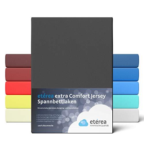 etérea Premium Jersey Spannbettlaken 180x200 bis 200x200 cm - dichtes Spannbetttuch für Wasserbetten und Normale Matratzen aus 100% Baumwolle und ca. 25 cm Steghöhe, Schwarz