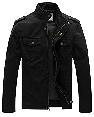 WenVen Men's Casual Cotton Military Jacket (Black, X-Large)