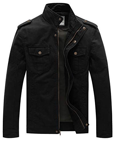 WenVen Men's Military Canvas Work Jackets and Coats (Black 1, XXX-Large)