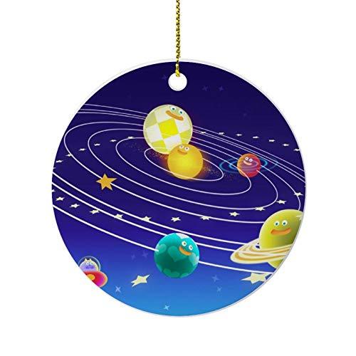happygoluck1y Divertidos adornos de planetas espaciales para árbol de Navidad, adornos redondos...