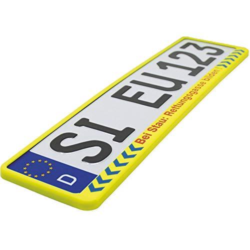 KFZ Kennzeichen-Halter | Rettungsgasse bilden | Neongelb Text Hinweis Rot | Universal Nummern-Schild Halterung | 520 mm Standard Größe Rahmen