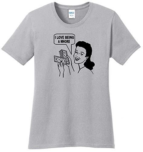 STUFF WITH ATTITUDE Whore Ladies Gray T-Shirt (Medium)