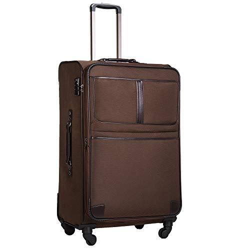 COOLIFE Stoff-Koffer Rollkoffer Leichtgewicht Reisekoffer Vergrößerbares Gepäck mit TSA-Schloss und 4 leiser Rollen (Braun, Großer Koffer)