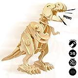 Robotime 3D Puzzle - Dinosaures ¨¤ contr?Le sonore - Puzzle en Bois - Jouets de Construction Puzzles - Cadeaux de No?l pour Gar?ons et Filles de 6, 7, 8 Ans et Plus