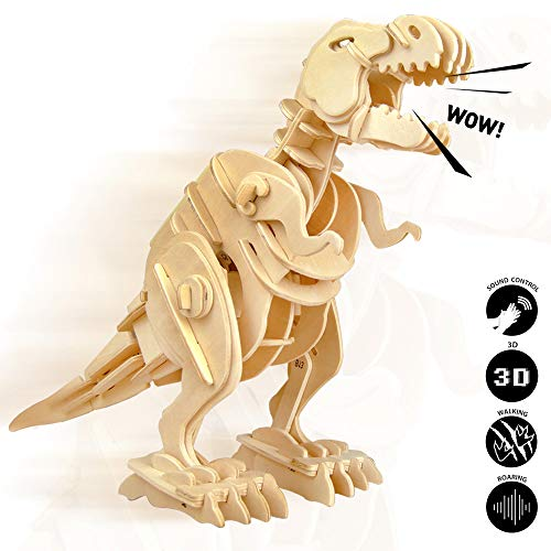 ROBOTIME 3D Puzzle - Robotic Dinosaur Toys - Wooden Sound Controlled Walking T- rex - Model Building Kit - Top Birthday for Boys and Girls 6, 7, 8 Year Old