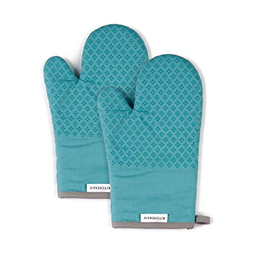 KitchenAid Asteroid Cotton Oven Mitts with Silicone Grip, Set of 2, Aqua 2 Count