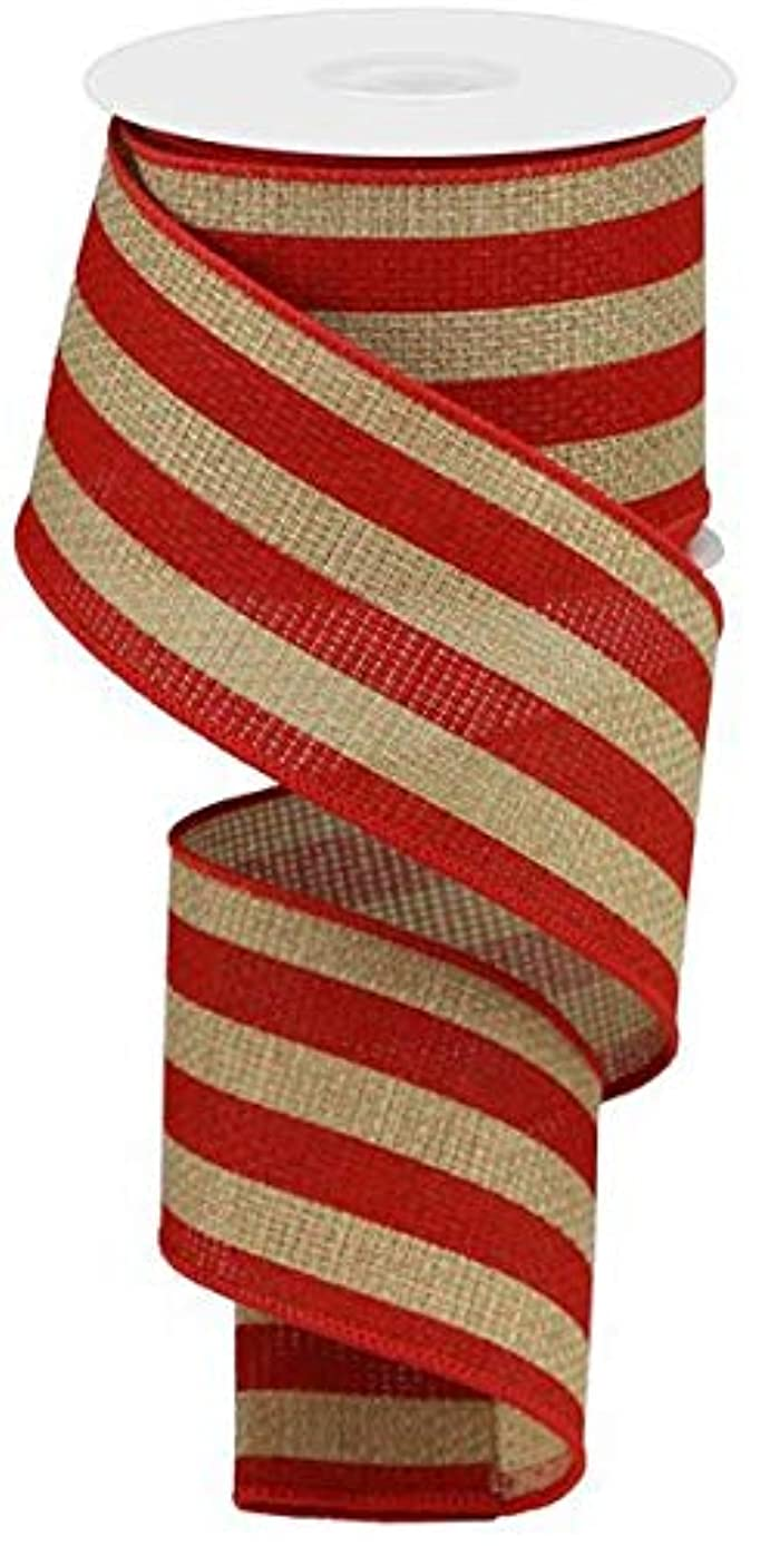 Vertical Stripe Wired Edge Ribbon - 10 Yards (Beige, Red, 2.5
