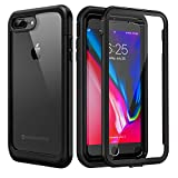 seacosmo iPhone 7 Plus Hülle, iPhone 8 Plus Hülle, Stoßfest Handyhülle iPhone 7 Plus 360 Grad Rugged schutzhülle mit eingebautem Bildschirmschutz für iPhone 8 Plus, Schwarz