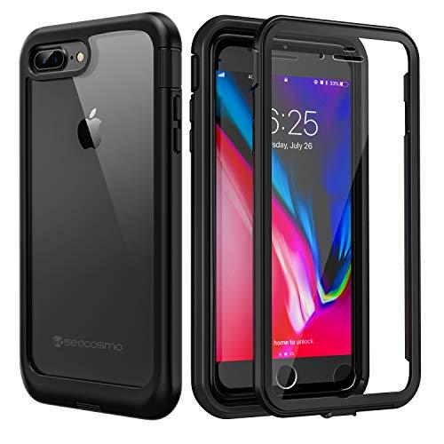 seacosmo Coque iPhone 7+ Plus, Coque iPhone 8+ Plus, Antichoc Housse [avec Protège-écran] Full Body Protection Etui Transparent Integrale Simple Bumper Case Compatible avec iPhone 7/8 Plus-Noir