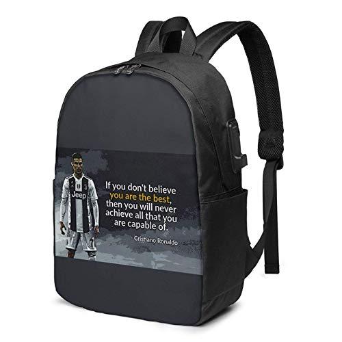IUBBKI Bolsa para computadora mochila USB C-R-Isti-A-Noro-Nal-Do-Slogan 17 Inch Laptop Backpack For Men & Women,Travel/School Backpack With Usb Charging Port & Headphone Interface