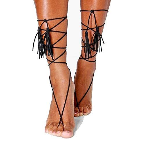 ZDAMN Anklet Anklet Barefoot Sandaal Eenvoudige Stijl Multilayer Twining Tassel Wol