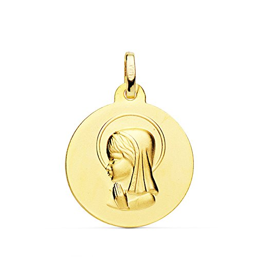Medalla Virgen Niña Mate Oro Amarillo 18 Kilates 18mm - Joya Personalizable, Grabado gratuito