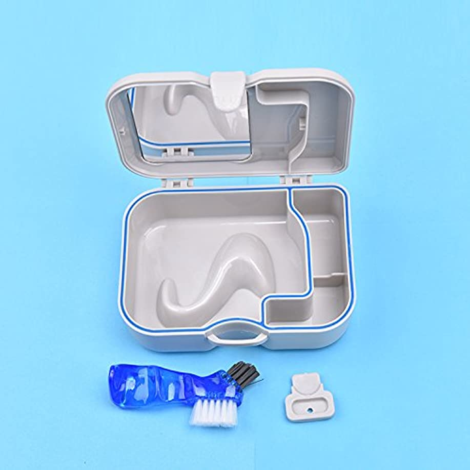 フラフープはいコジオスコ入れ歯ケース セット 鏡とブラシ付き義歯ケース Annhua