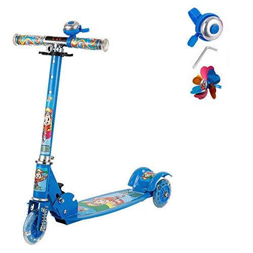 Thole Patinete Rueda De Flash De PU Plegable NiñO Scooter Tres Colores Opcionales Peso Ligero 6kg con Manillar Ajustable Freno,Blue