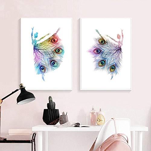 Terilizi Abstracte ballerina dansen druk pauwenveren kleurrijke silhouet poster baby meisjes kinderkamer muurkunst canvas schilderij decor 50X70Cmx2 geen lijst