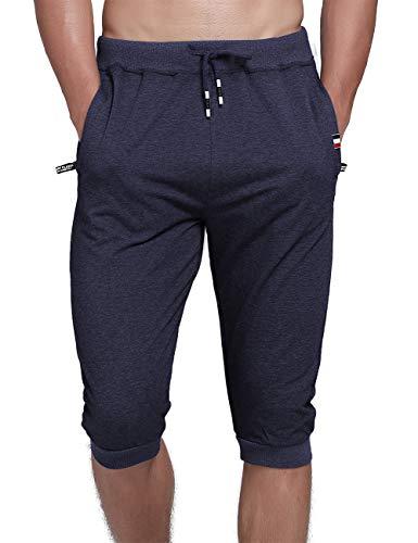 YSENTO Herren-Shorts aus Baumwolle, 3/4-Shorts für Jogger, Caprihose, Kniehose, kurze Hose, Reißverschlusstaschen -  Blau -  46