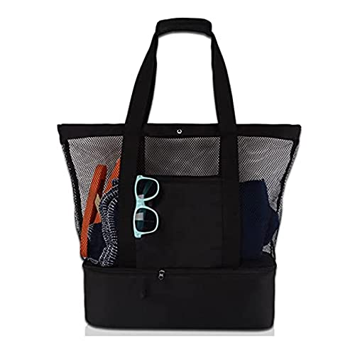 Cymax Beach Bag,Mesh Beach Tote Bag with Insulated Cooler Compartmen,Large Pool Picnic Bag Toy Storage Bag with Zipper Closure,Foldable Grocery Storage Bag,Beach Holiday Organizer Net Bag,Black