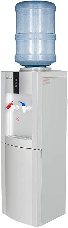ROVSUN Top Loading Water Cooler Dispenser Stand With Hot Cold Drinking Water 5 Gallon Storage Cabinet Child Safety Lock Perfect For Office Home
