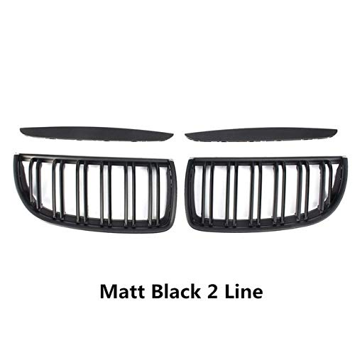 Preisvergleich Produktbild SPLLEADER 4PC / Set Paar Autos Matt Gloss Black M Stil vorne Kidney Doppellamellengitter-Satz for BMW E90 E91 2005 2006 2007 2008 Racing Grill (Color : 2LINE Matte Black)