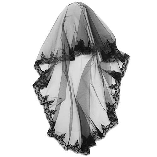 Lurrose Schwarzer Spitzenschleier Hochzeitsschleier Brautspitze Fingerspitzenlänge Tüll Brauttäler Kopfschmuck Haarschmuck für Mädchen Frauen Hochzeit Halloween Cosplay