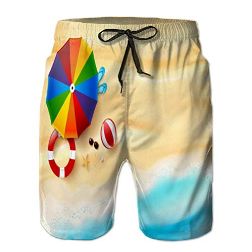Xunulyn Beach Shorts Pantaloni Costume da Bagno con Tasche Uomo Astratto Vista dall'alto Sabbia Mare Spiaggia Stella Marina Conchiglia Roccia Ombrello Copia Spazio Vacanze estive Concetto