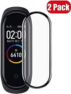 【2019強化版】【2枚】Xiaomi Mi Smart Band 4 フィルム 専用 3D曲面 Xiaomi Mi Smart Band 4 全面吸着 PCフィルム 液晶端まで全面覆える 高強度PC素材を使用したPCフィルム 耐久性 撥油性 指紋防止 気泡ゼロ Xiaomi Mi Smart Band 4 保護フィルム 【Xiaomi Mi Band 4-黒/ブラック 2枚】
