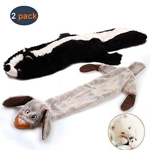Hundespielzeug mit Quietschelement, langlebiges Hundespielzeug aus Plüsch, mit Quietschelement, für mittelgroße und große Hunde, 2 Stück