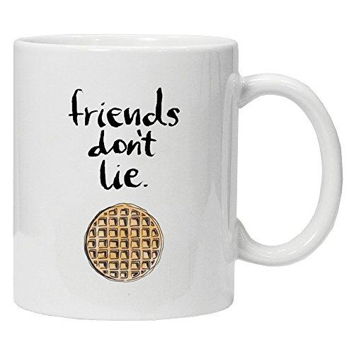 Acen - Stranger Things Inspired - Friends Don't Lie' Tee/Kaffeetasse, 325 ml keramische Kaffee/Teetasse, perfektes Geschenk für Valentinstag, Ostern, Sommer, Weihnachten, Geburtstag, Jahrestag
