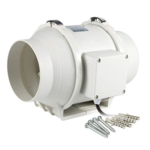 Hon&Guan 5 Inch Inline Duct Fan Exhaust Fan Mixed Flow Inline Fan Hydroponic Air Blower for Home Ventilation Bathroom Vent and Grow Room Ventilation Powerful & Silent Inline Fan 167 CFM (P Series)
