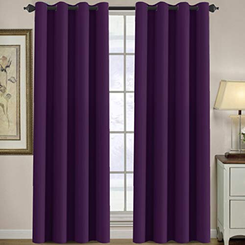 Thermal Insulated Blackout Window Curtains for Bedroom / Living Room Ultra Soft and Smooth Innovated Microfiber Grommet Curtains 84 Inch Length - Solid in Plum Purple ( One Panel )