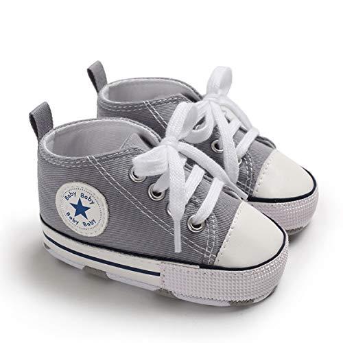 DEBAIJIA Bebé Primeros Pasos Zapatos de Lona6-12M NiñosAlpargata Suave Antideslizante Ligero Slip-on 18 EU Gris (Tamaño Etiqueta-2)