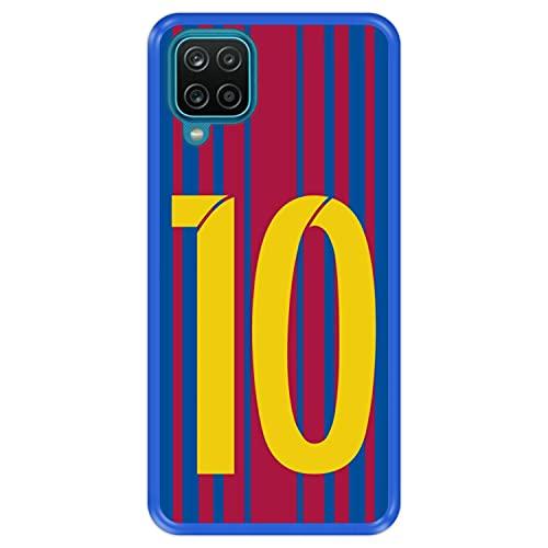 Hapdey Funda Azul para [ Samsung Galaxy A12 ] diseño [ Ilustración fútbol, número 10 ] Carcasa Silicona Flexible TPU
