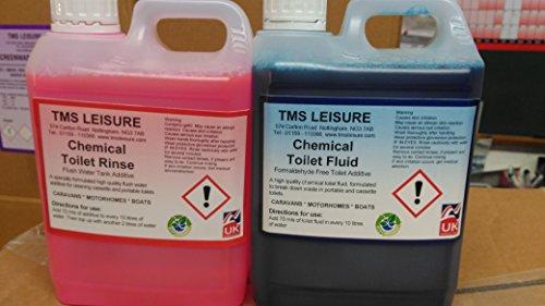 TMs Freizeit umweltfreundlich Chemietoilette Flüssigkeit & Rinse 2L 2Stück einen hohen Wert für Caravan & Wohnmobil WC-Flüssigkeit.
