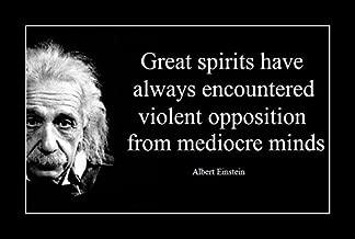 8 x 10 All Wood Framed Photo Albert Einstein Quote Great Spirits Have Always Encountered Violent Opposition